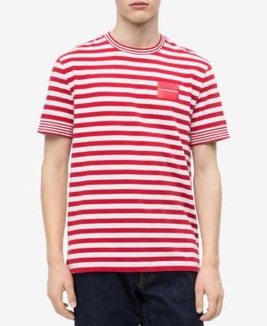 46f43776 Calvin Klein Jeans Men's Striped Pocket T-Shirt In Tango Red   ModeSens