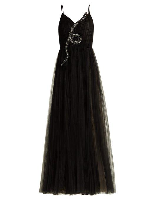Valentino Snake-Embellished Tulle Gown In Black