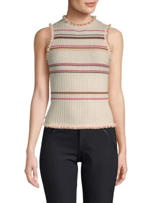 Rebecca Taylor Striped Knit Tank Top In Cream