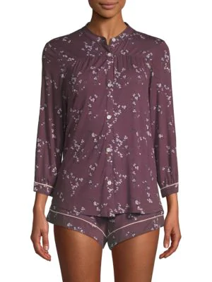 361a424127c8 Eberjey Daisy Pajama Top   Shorts Set In Vineyard Wine