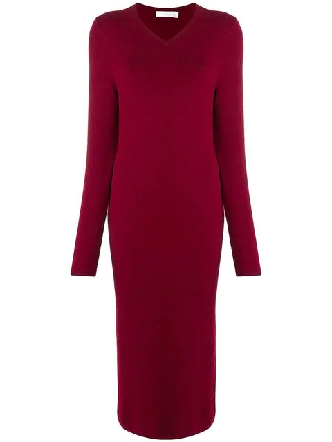 Victoria Beckham Long Sweater Dress In Red