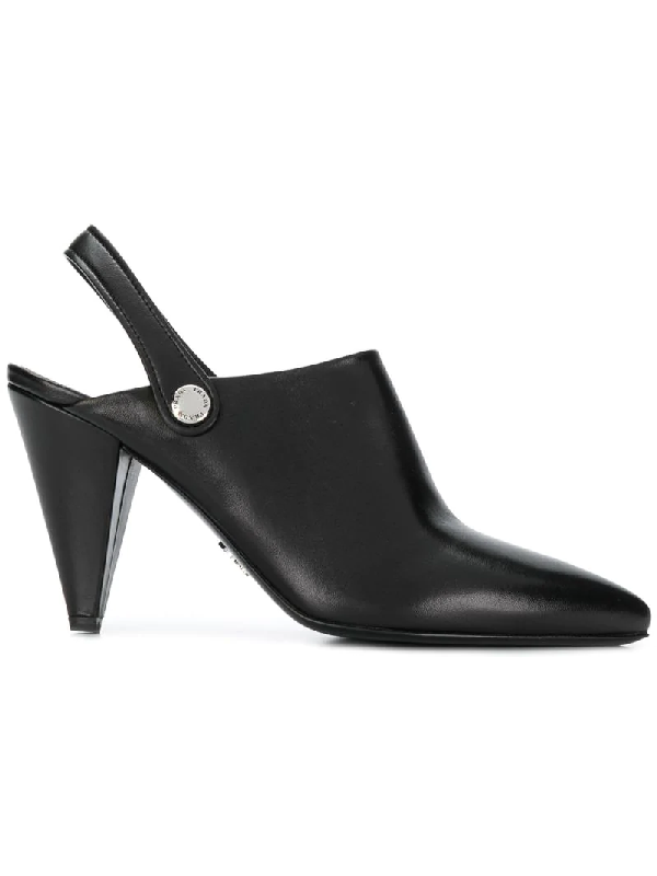Prada Pointed Slingback Mules - Black