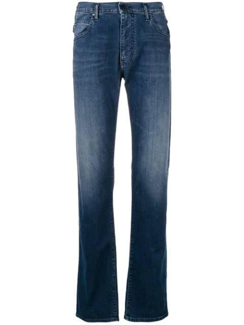 Emporio Armani Light-wash Straight Leg Jeans In Blue
