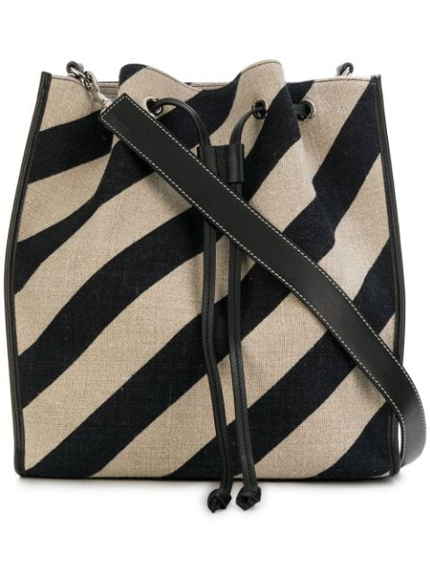 Jw Anderson Leather-trimmed Striped Canvas Bucket Bag In Black