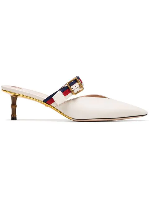 Gucci Grosgrain-Trimmed Leather Mules In White