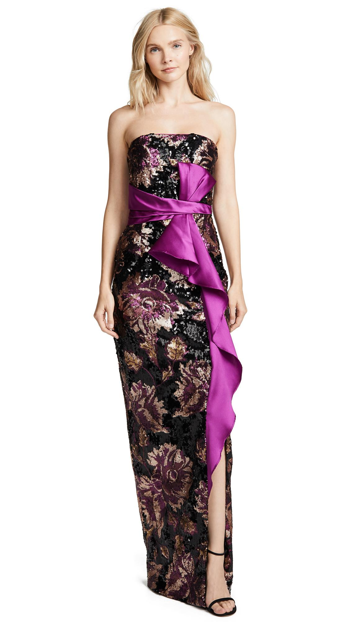 Marchesa Notte Strapless Sequin Peony Gown In Black