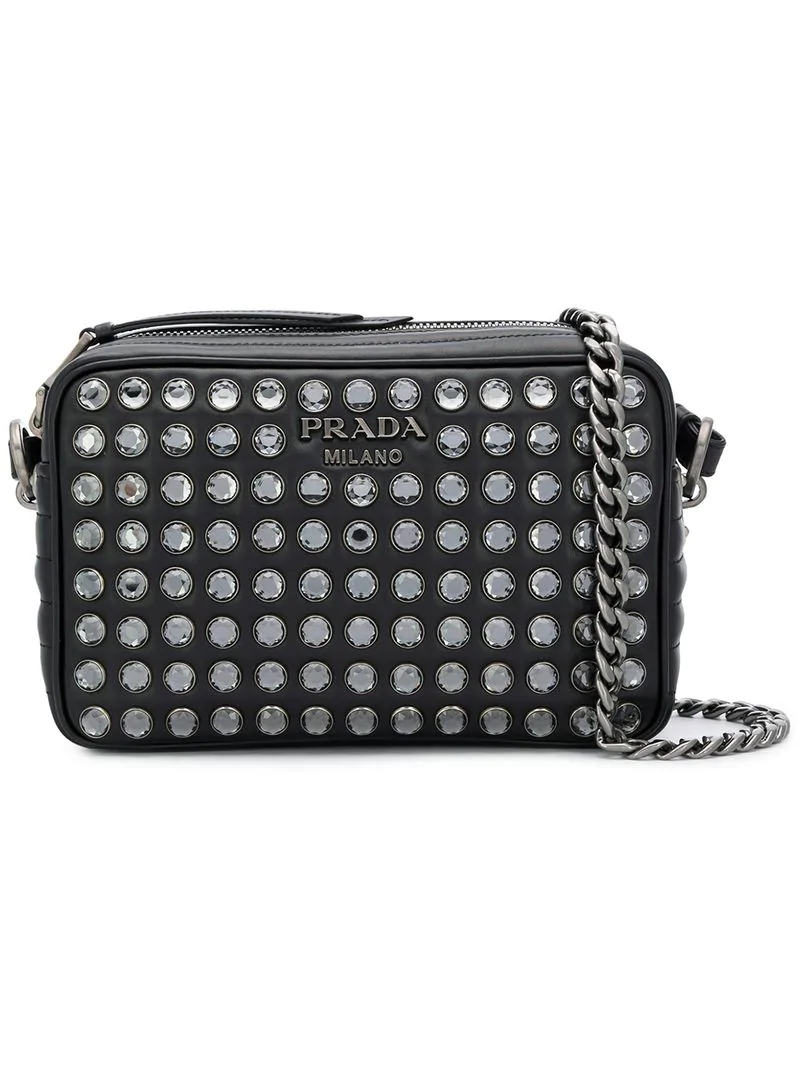 254921a0a97411 Prada Diagramme Bag With Crystals - Neutrals | ModeSens