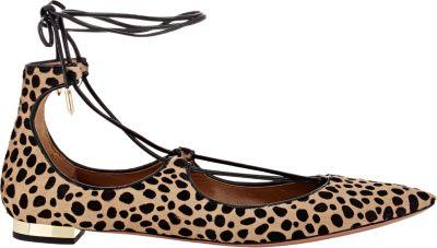 7aca5d096a40 Aquazzura Christy Leopard-Print Calf Hair Point-Toe Flats In Animal Print