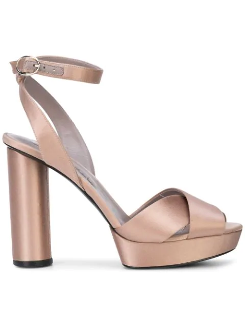 Oscar De La Renta Ankle Strap Platform Sandals In Metallic