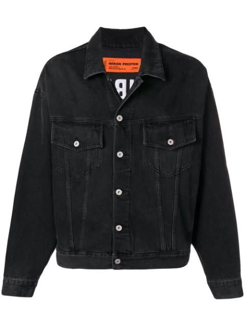 Heron Preston Oversized Embroidered Denim Jacket - Black