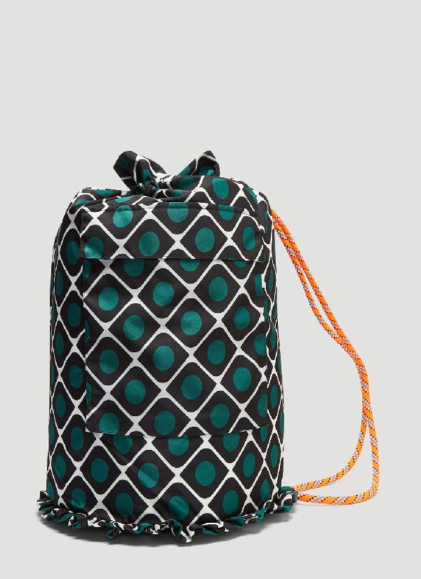 La Doublej Olive Print Nylon Shoulder Bag In Green