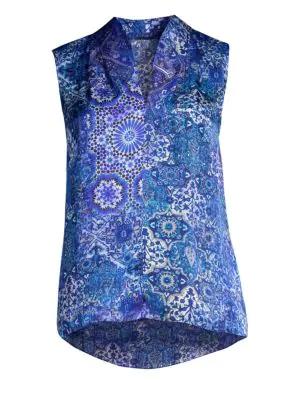 39c8eaebf008f7 Elie Tahari Judith Sleeveless Silk Blouse In Bora Bora | ModeSens
