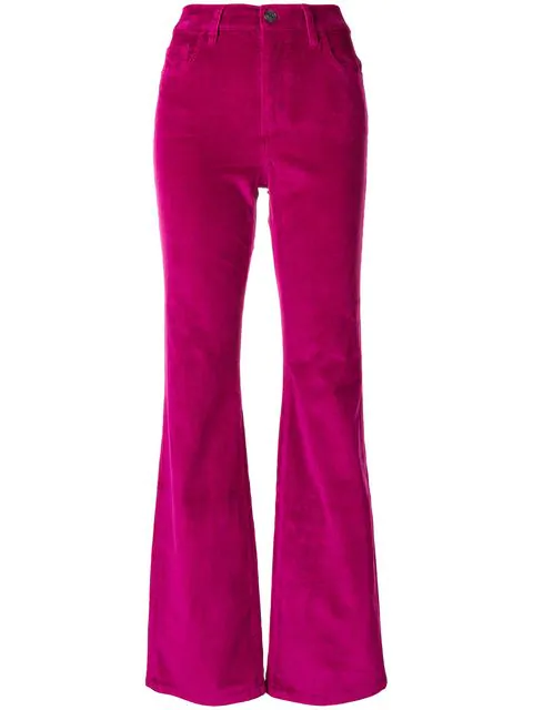 Current Elliott Current/elliott The Jarvis Flared Corduroy Jeans In Wild Aster In Fuchsia