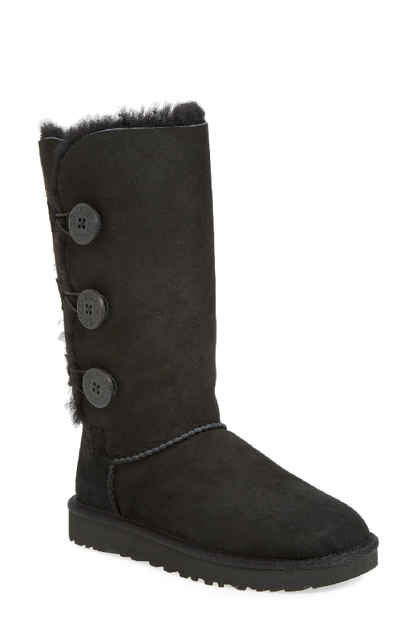 meet vast selection good out x Bailey Button Triplet Sheepskin Mid Calf Boots In Black Suede