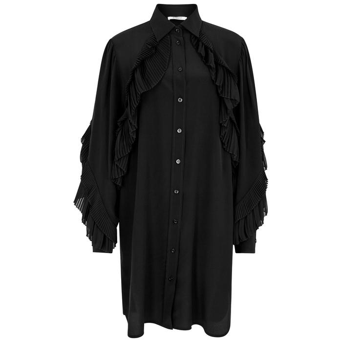 Givenchy Black Ruffle-Trimmed Silk Dress