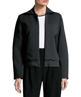Balenciaga Ribbed Mockneck Jacket In Nocolor