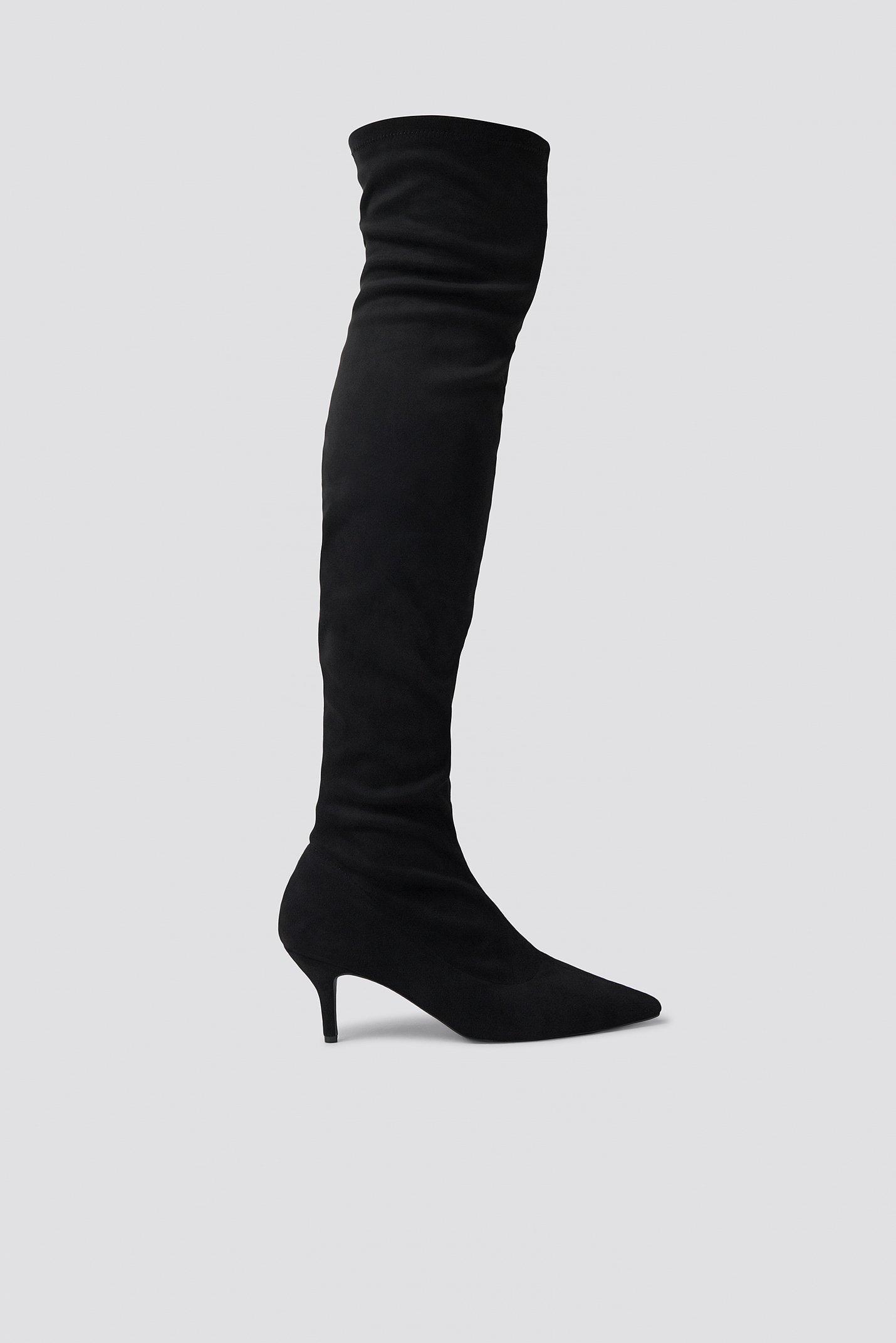 e3931917e31 Na-Kd Overknee Kitten Heel Boots - Black | ModeSens