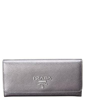 31d41b4bcae985 Prada Large Saffiano Leather Continental Wallet In Silver | ModeSens