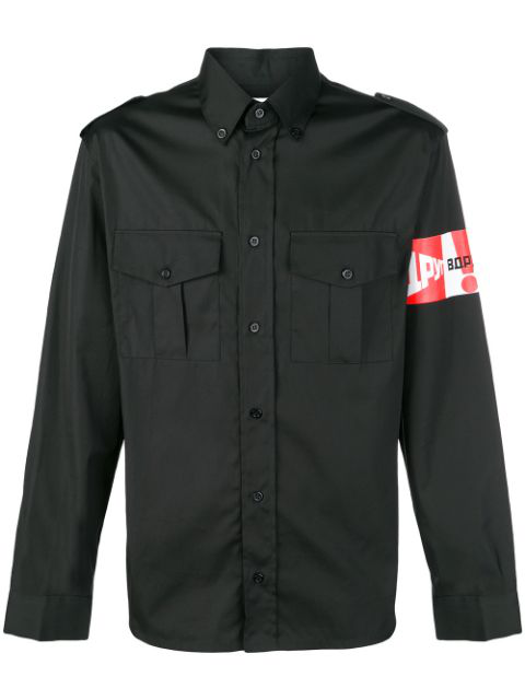 Gosha Rubchinskiy Slogan Graphic Print Shirt In Black