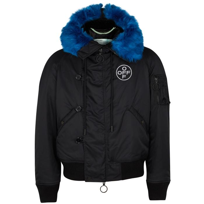 8c9be09bd97b Off-White Bomber Faux Fur-Trimmed Nylon Jacket In Nero