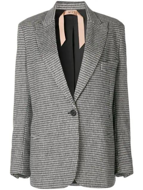 N°21 Houndstooth Wool-Blend Blazer In Grey