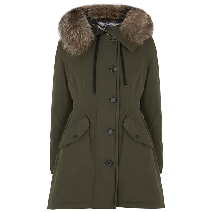 e82a3956f Monticole Fur-Trimmed Twill Coat in Dark Green