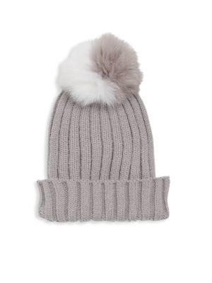 18215ca0d4b Adrienne Landau Dyed Fox Fur Pom Pom Hat In Grey
