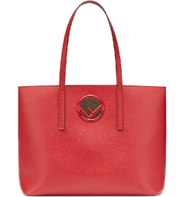 0315999370b8 Fendi F Logo Calf Leather Shopping Tote Bag In Red