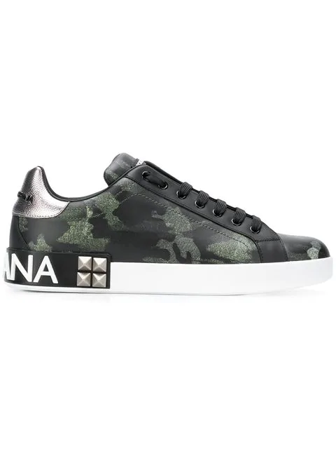 3319fb2f38f31 Dolce & Gabbana Camouflage-Print Low-Top Leather Trainers In Hh046  Camouflage Verde