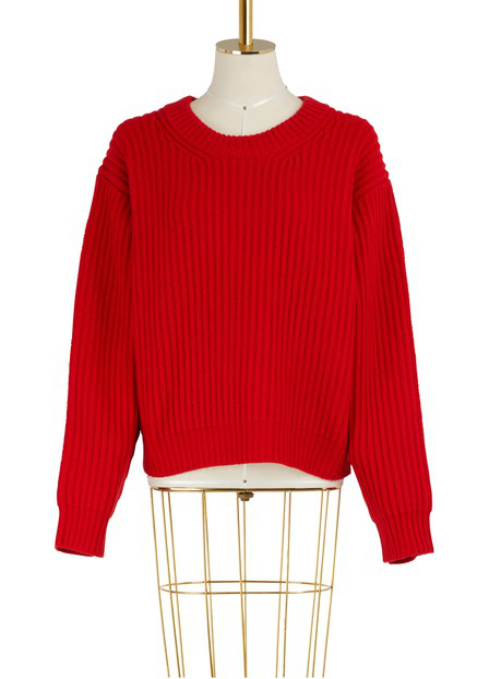 Acne Studios Boxy Thick Ribbed Knit Sweater In Red