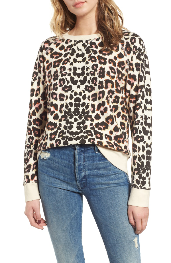 3357db1c1954 Mother The Square Leopard-Print Crewneck Pullover Top In Touch Of The Tiger