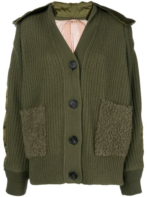 N°21 Chunky Knit Bomber Jacket In Green