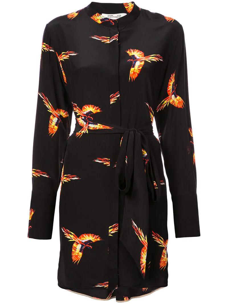 eecf008ef03539 Diane Von Furstenberg Dvf Bird Print Shirt Dress - Black