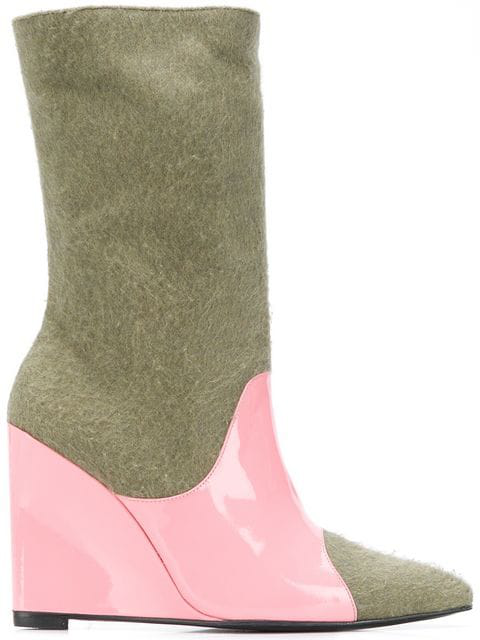 Leandra Medine Colour Block Wedge Boots - Green