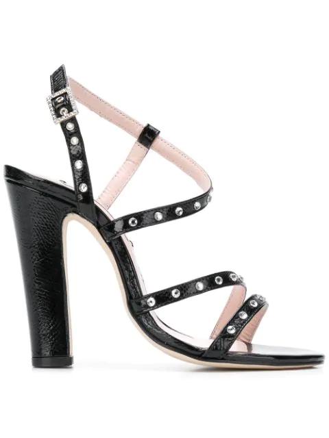Leandra Medine Embellished Strappy Sandals - Black
