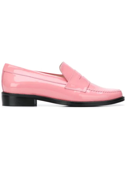 Leandra Medine Contrast Sole Loafers - Pink