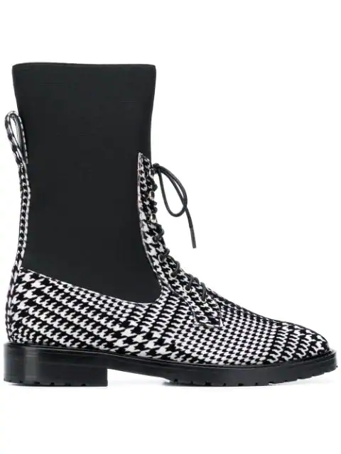 Leandra Medine Houndstooth Lace-Up Boots - Black