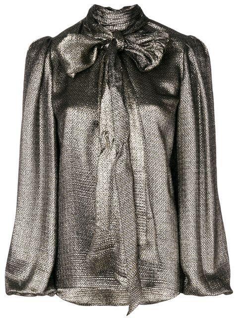 Saint Laurent Metalized Bow Blouse In Metallic