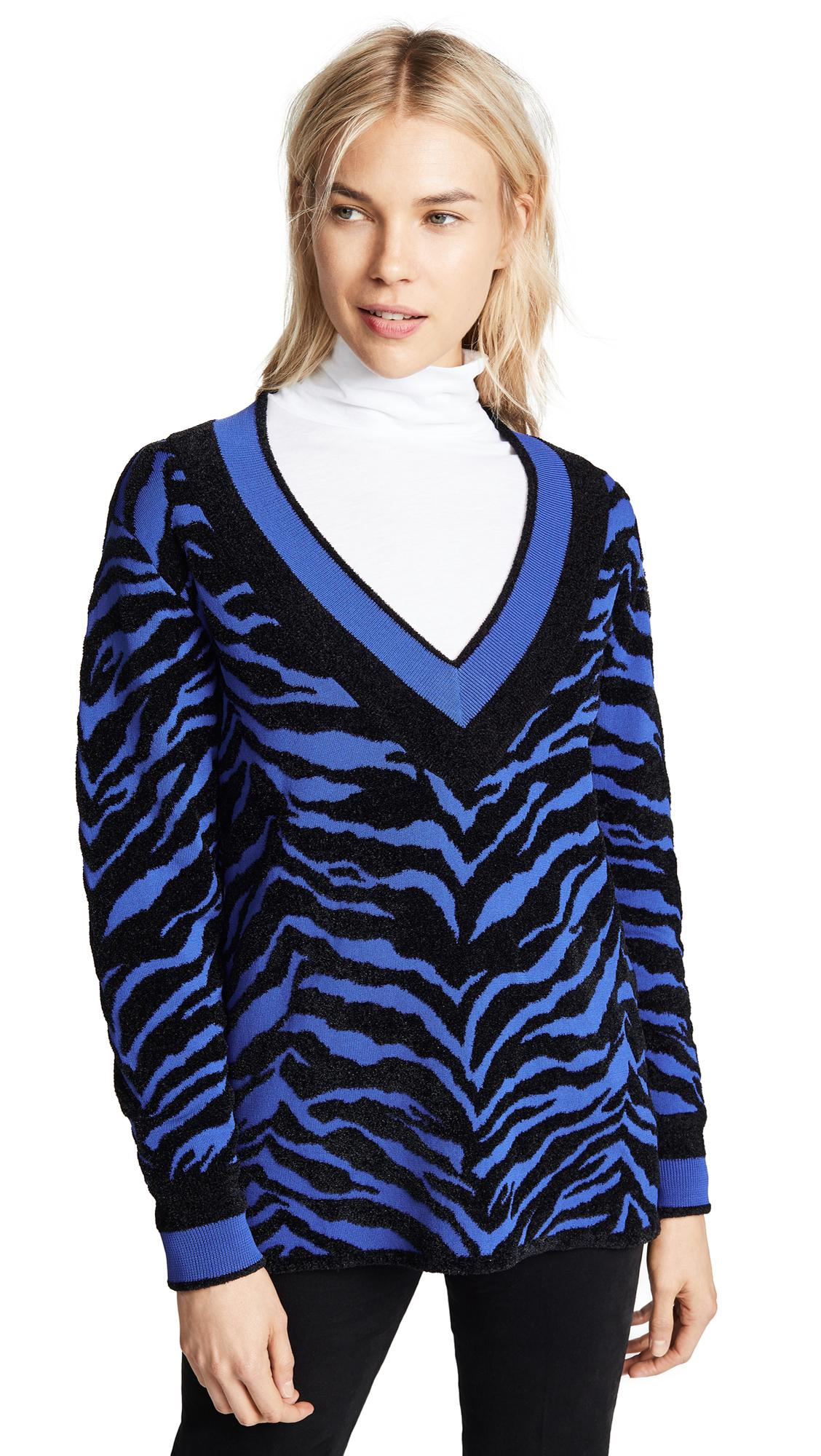 5a17ec050583a1 Adam Selman Deep V Sweater In Royal Black