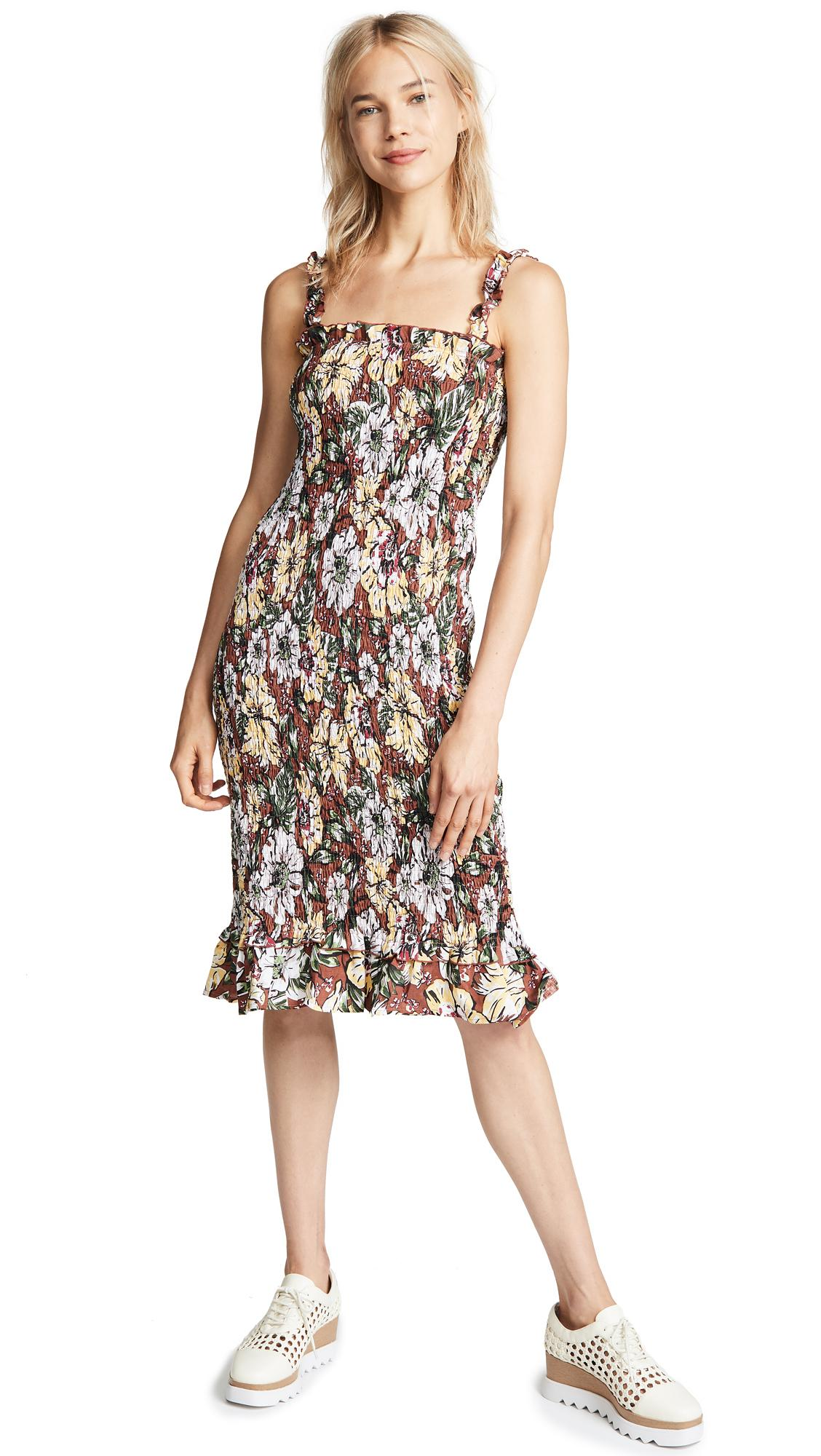 ab9ace8649d3 Faithfull The Brand Maya Smocked Floral-Print Linen Midi Dress In Brown