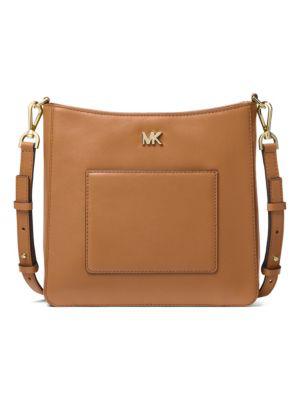 39e430dd66744f Michael Kors Gloria Pocket Leather Swing Pack Messenger Bag In Acorn ...