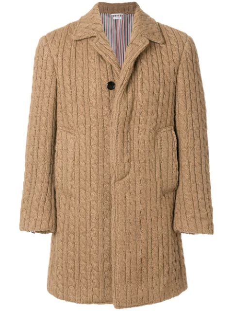 Thom Browne Ribbed Baby Cable Camel Hair Bal Collar Overcoat - Neutrals