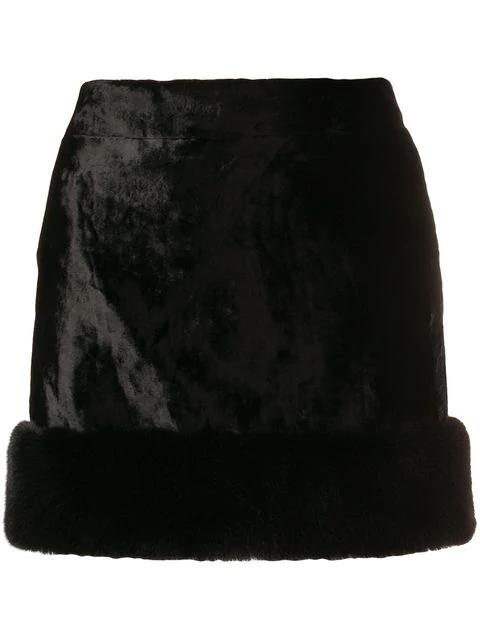 Saint Laurent Faux Fur Mini Skirt In Black