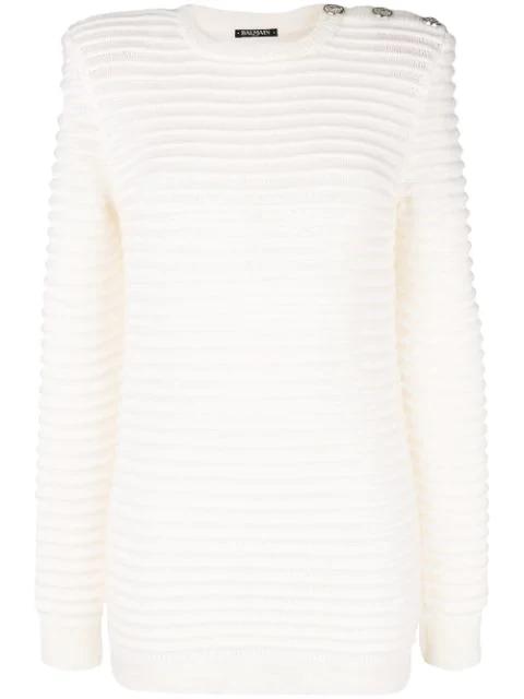 Balmain Ribbed Knit Jumper In White