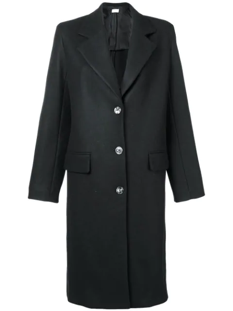 The Row Single Breasted Midi Coat In Black