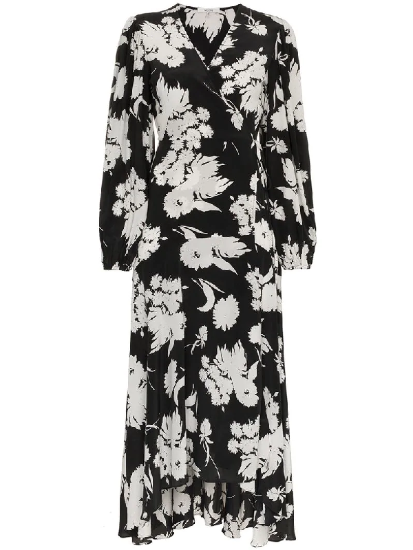 5cc248588d16 Ganni Floral-Print Silk Crepe De Chine Wrap Dress In Black | ModeSens