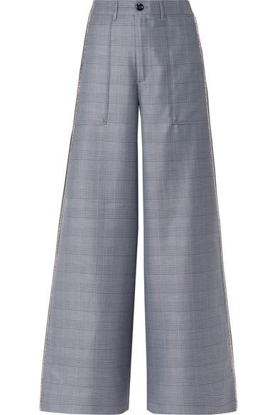 Ganni Crystal-Embellished Checked Silk-Blend Wide-Leg Pants In Blue