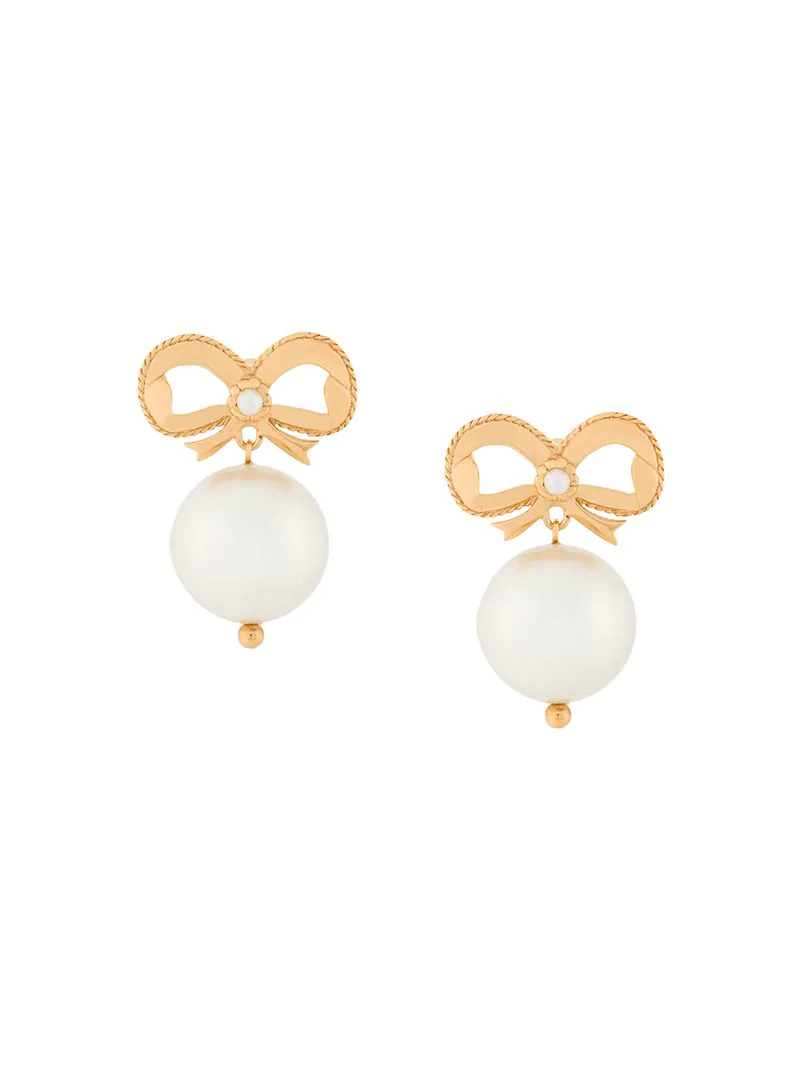 Simone Rocha Gold-plated Bow And Faux Pearl Drop Earrings In Metallic
