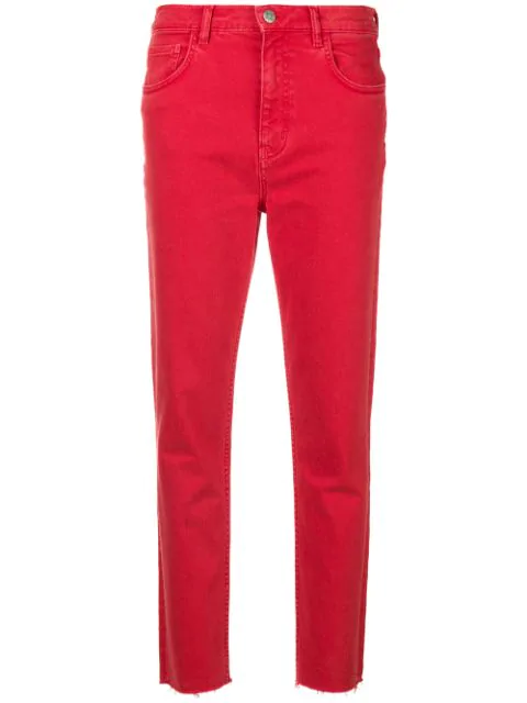M.i.h Jeans Mimi Cropped Slim-fit Jeans In Cherry Red