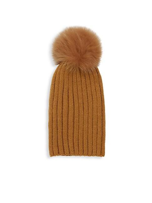 ec0c3071f6a25c Adrienne Landau Dyed Fox Fur Pom Pom Ribbed Beanie In Camel | ModeSens